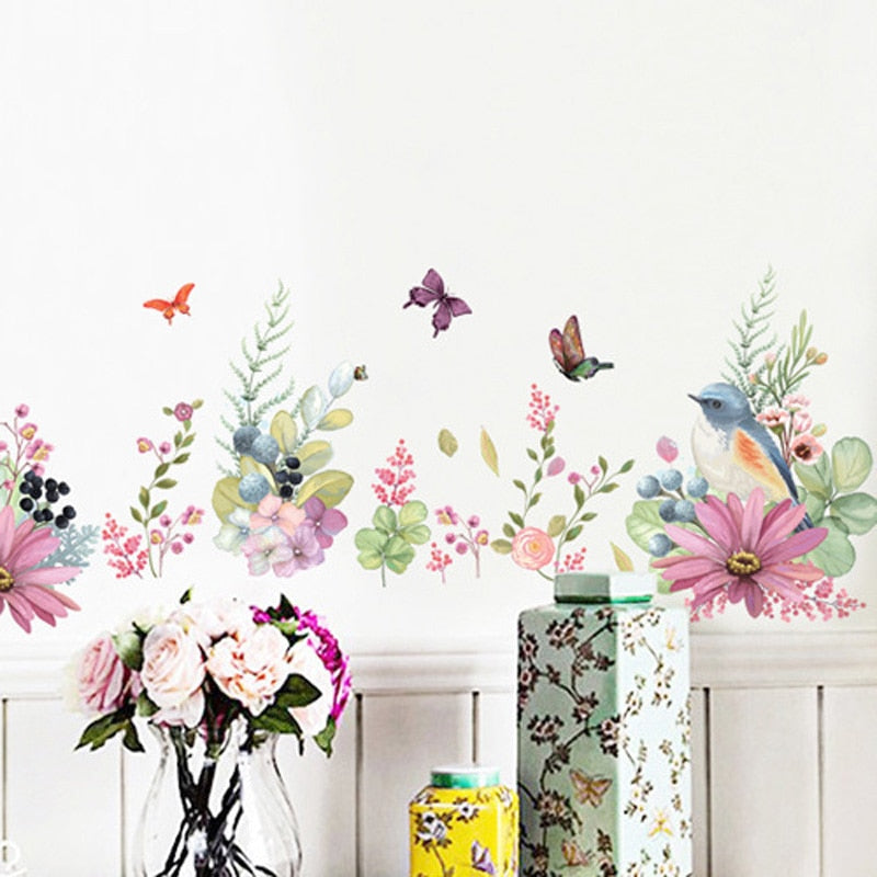 Pretty Floral Butterflies And Birds Wall Mural Removable PVC Wall Decals For Living Room Bedroom Kitchen Simple Creative DIY Home Wall Art Decoration