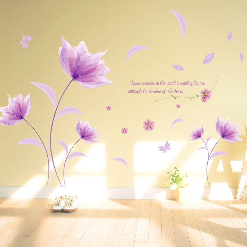 Pretty Purple Flowers Wall Art Decal Removable PVC Wall Mural For Living Room Bedroom Romantic Creative Home Makeover Simple DIY Wall Art Decoration