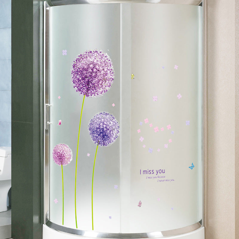 Purple Dandelions Pretty Wall Mural Removable PVC Wall Decal Simple Creative Makeover Home DIY Wall Decor Pink Love Romantic Bedroom Floral Home Decoration