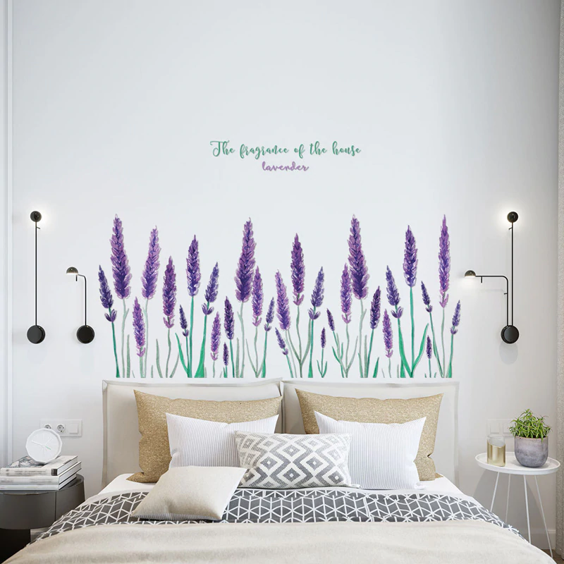 Purple Lavender Floral Wall Art Mural Home Decor Removable PVC Wall Art Decal For Living Room Dining Room Creative DIY Home Decoration