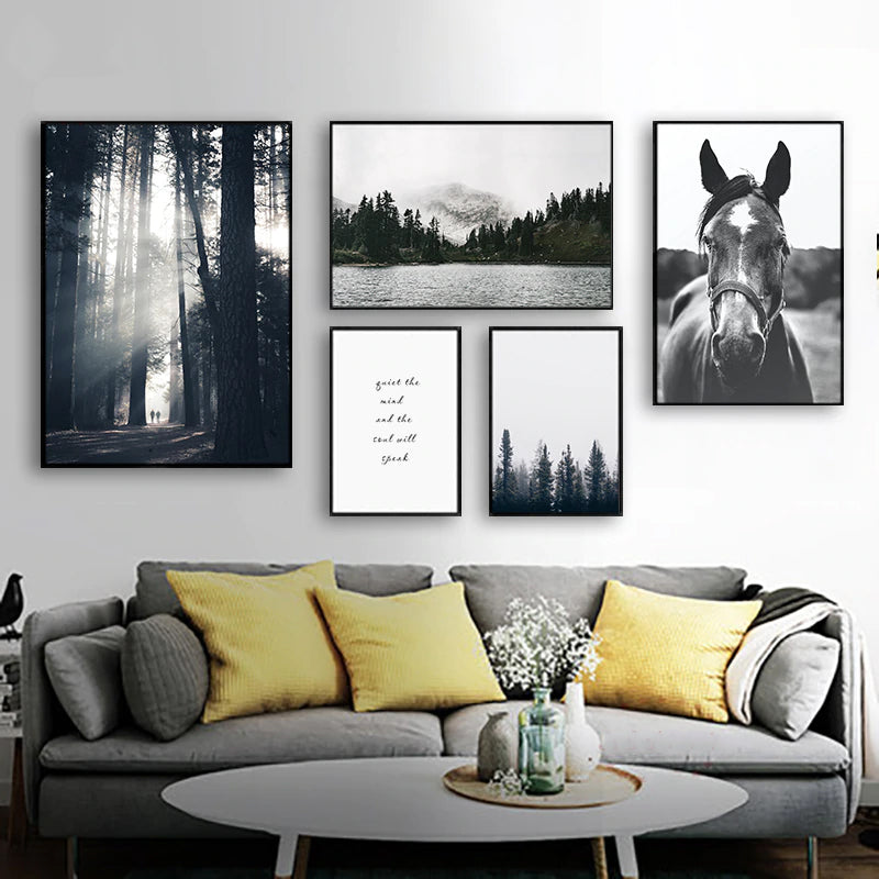 Quiet The Mind And The Soul Will Speak Inspirational Misty Mountain Wilderness Nordic Gallery Wall Art Black & White Fine Art Canvas Prints