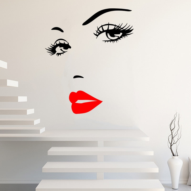 Red Lips And Eyelashes Fashion Wall Mural Removable PVC Vinyl Wall Decal For Girl's Bedroom Creative Simple Beauty Salon Wall Decoration DIY Home Decor
