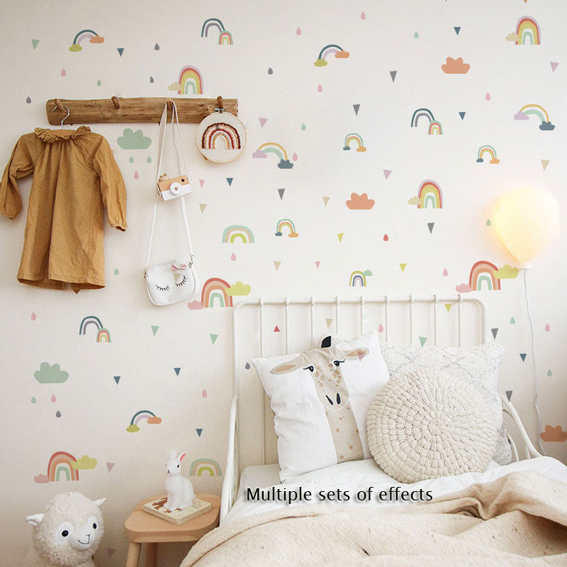 Rainbow Clouds Nursery Decor Wall Decal Removable Peel-and-stick Vinyl PVC Wall Decal For Kids Bedroom Wall Simple Creative DIY Wall Art Home Decor