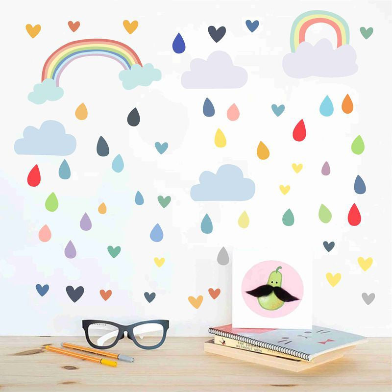 Rainbow Hearts & Rain Drops Nordic Style Nursery Wall Decals For Kids Playroom Removable PVC Wall Stickers For Creative DIY Baby's Room Wall Art Decoration