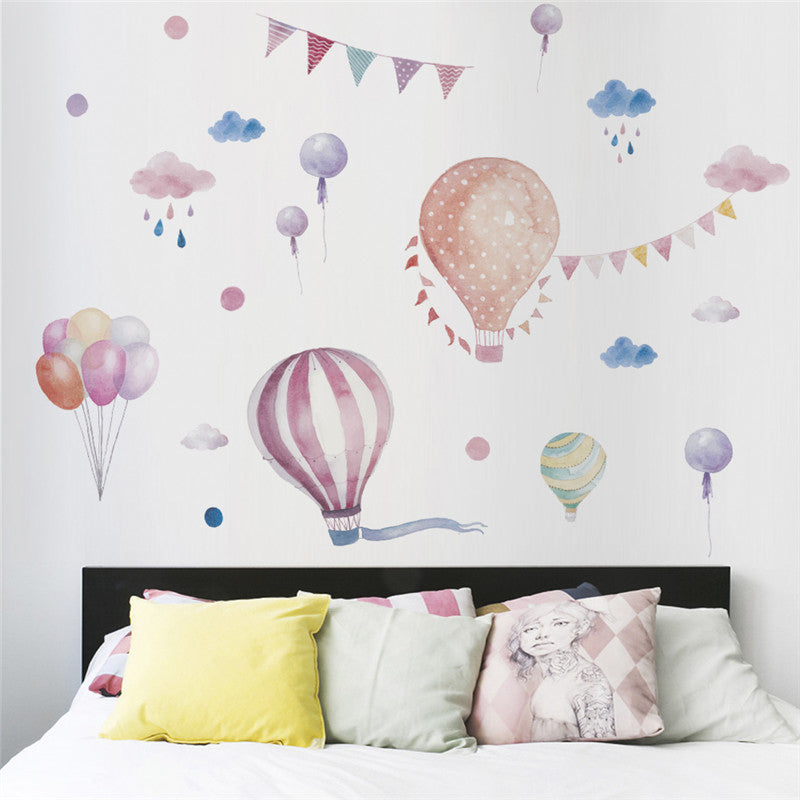 Rainy Days Balloons & Flags Wall Decals Colorful Nursery Room Wall Art Removable PVC Wall Stickers Murals For Kids Room Children's Bedroom Wall Decoration