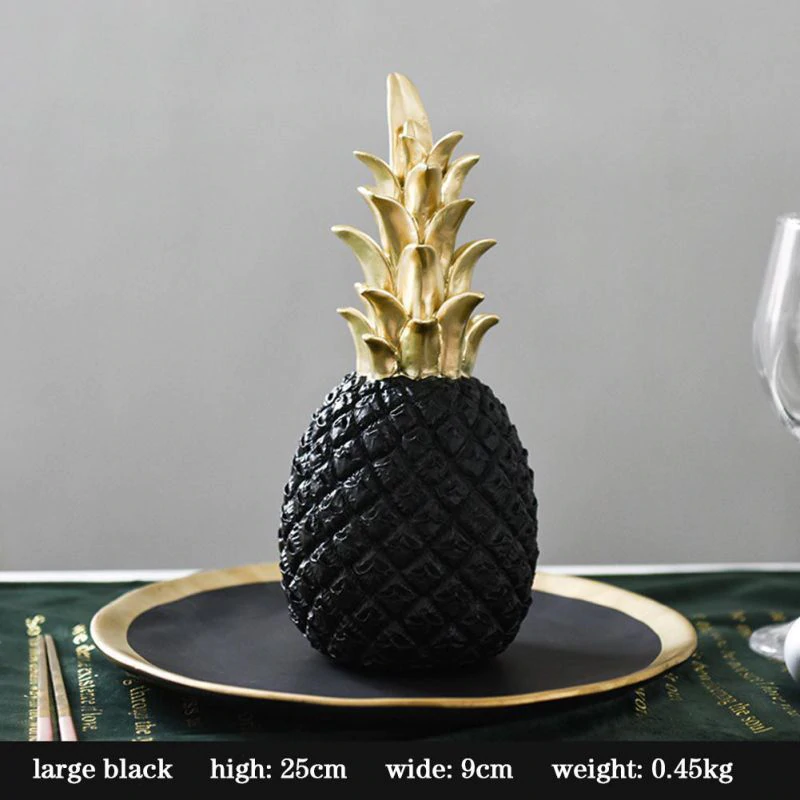 Realistic Golden Pineapple Tabletop Ornament Nordic Home Decor Coffee Table Decoration Black White Golden Pineapple Window Display Props
