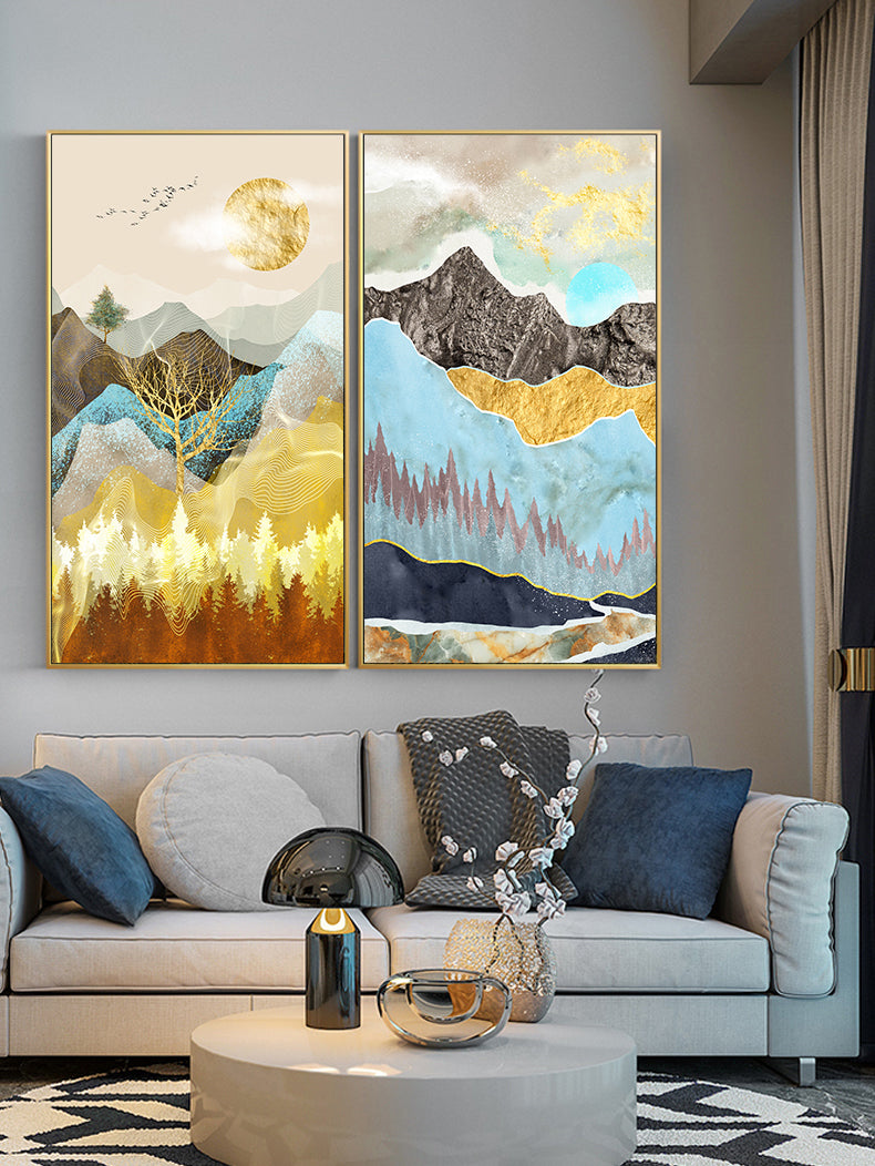 Realm Of The Golden Stag Abstract Nordic Landscape Wall Art Fine Art Canvas Prints Luxury Pictures For Loft Apartment Living Room Stylish Modern Home Decor