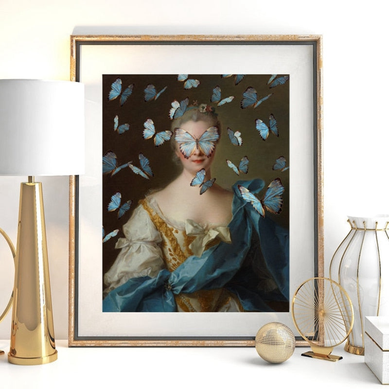 Retro Classical Abstract Portrait Wall Art Fine Art Canvas Prints Altered Vintage Gallery Pictures For Living Room Dining Room Contemporary Home Decor