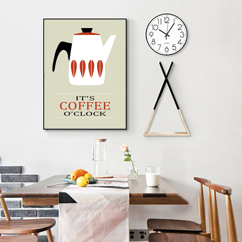 It's Coffee O'clock Retro Kitchen Posters Scandinavian Wall Art Tea Coffee Cups Fine Art Canvas Prints Cafe Pictures For Living Room Dining Room Kitchen Wall Art Decor
