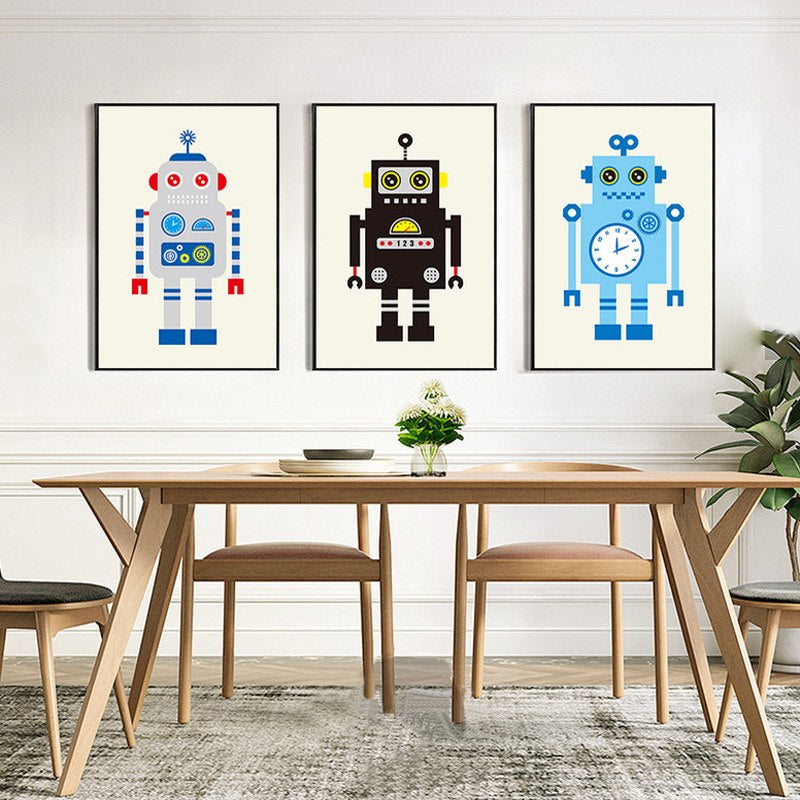 Retro Robots Delightful Modern Nordic Wall Art Colorful Canvas Prints Cheerful Paintings For Kids Room Dining Room Tech Office Decor