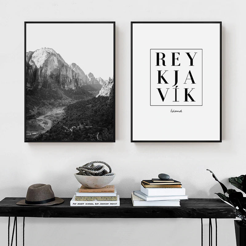Reykjavik Wall Art Poster Black And White City Travel Iceland Destination Promo Pictures Fine Art Canvas Prints Scandinavian Style Home Decor