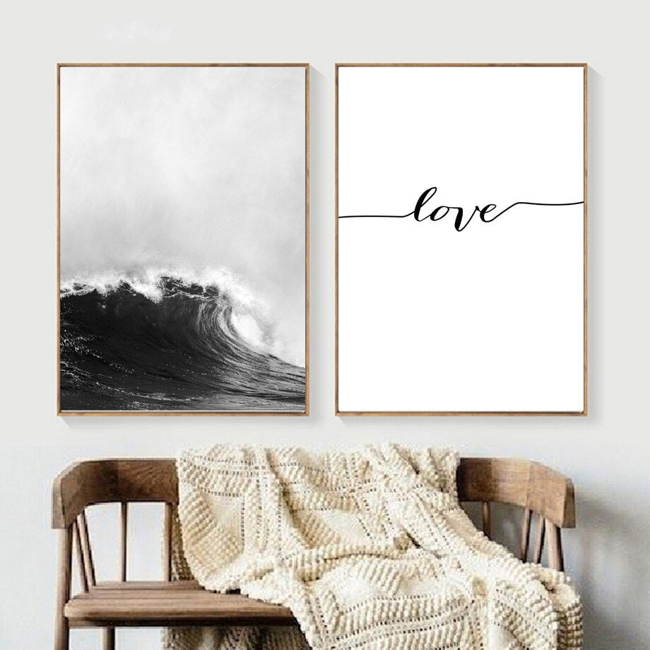 Ride The Storm Seascape Love Minimalist Black White Inspirational Wall Art Posters Fine Art Canvas Prints Nordic Style Pictures Living Room Bedroom Decor