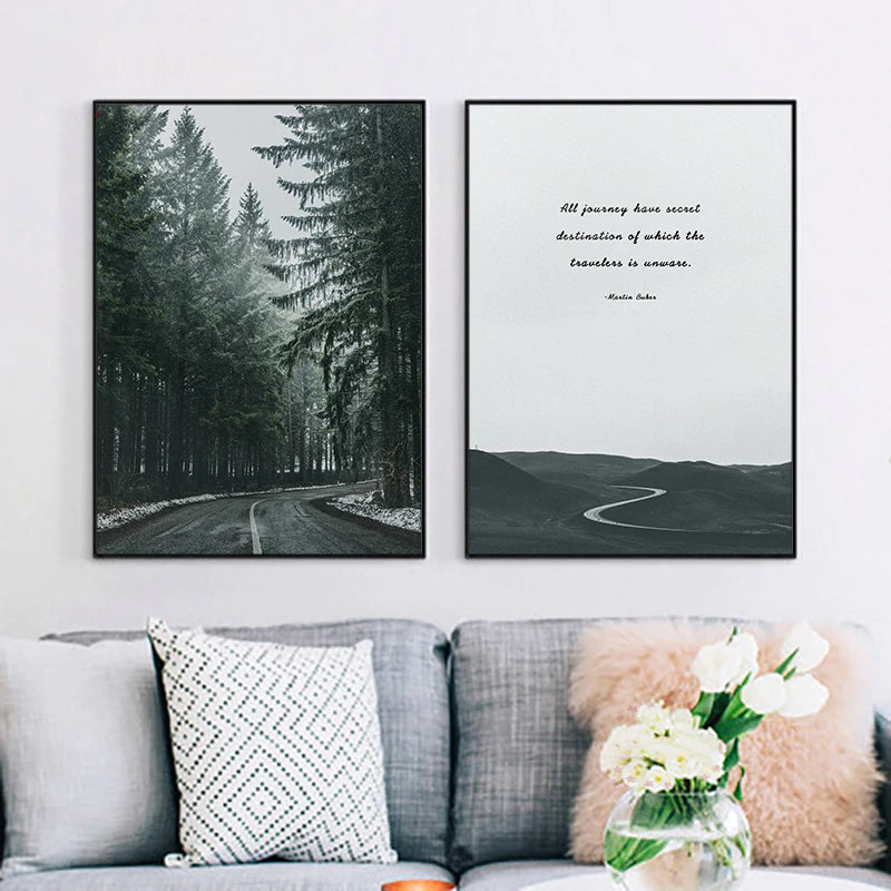 Road Through The Forest Wall Art Secret Destination Inspirational Quotation Fine Art Canvas Prints Nordic Pictures For Modern Home Decor