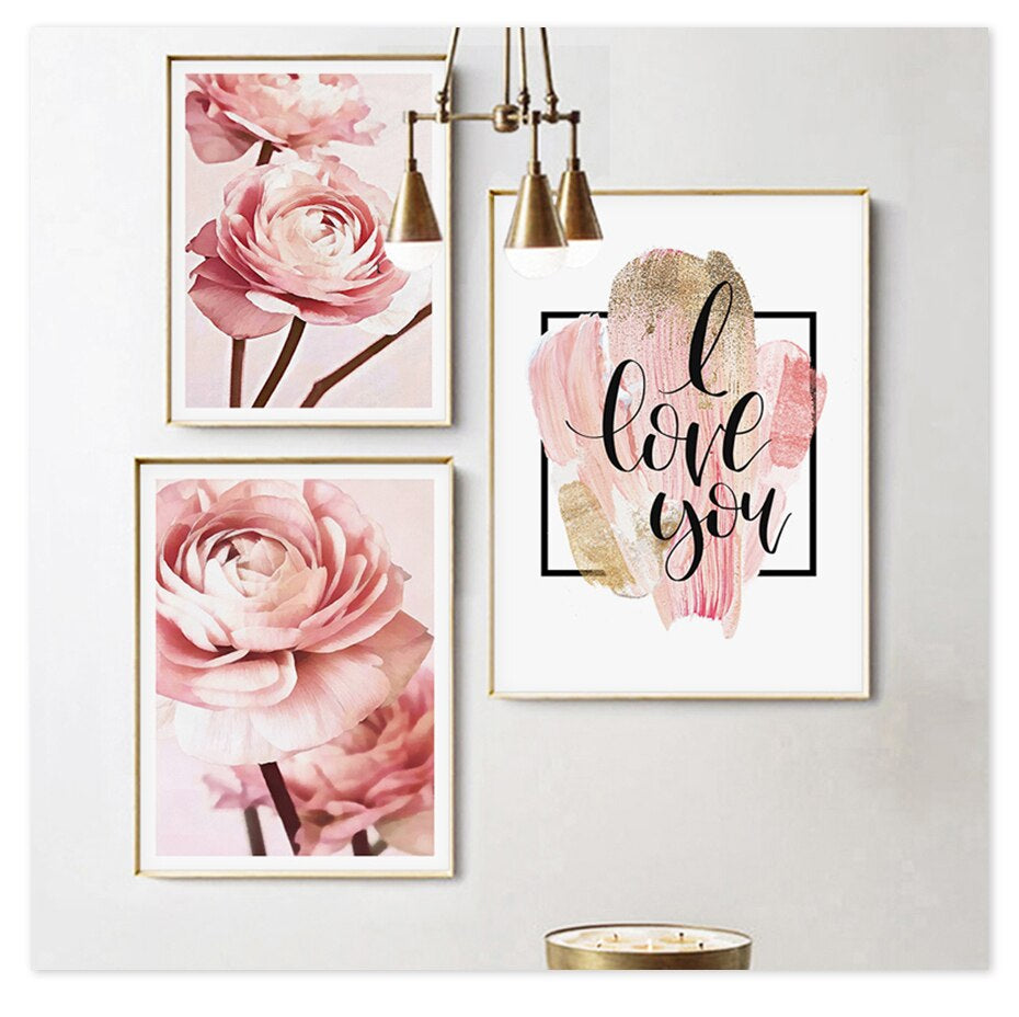 Rose Gold Peonies Wall Art Pink Floral Fine Art Canvas Prints Nordic Style Minimalist I Love You Quotation Modern Cute Pictures For Bedrooms