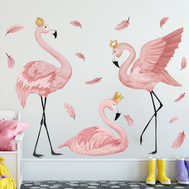 Royal Pink Flamingos Wall Art Mural Removable PVC Decals For Creative Nordic Style DIY Wall Decor For Kids Bedroom Nursery Room Wall Decor