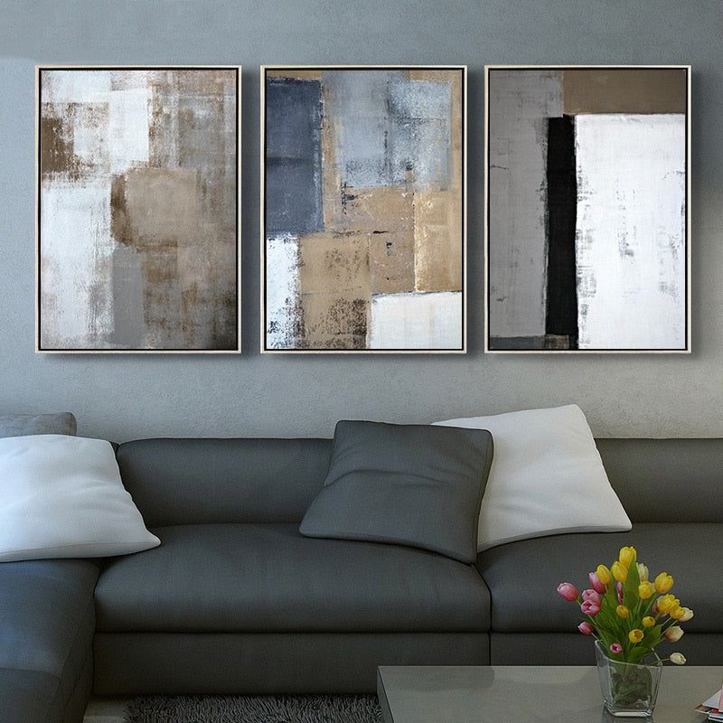 Rustic Vintage Abstract Wall Art Decor Bold Blue Black Bronze Pictures Fine Art Canvas Prints For Modern Office Interiors Home Living Room Decor
