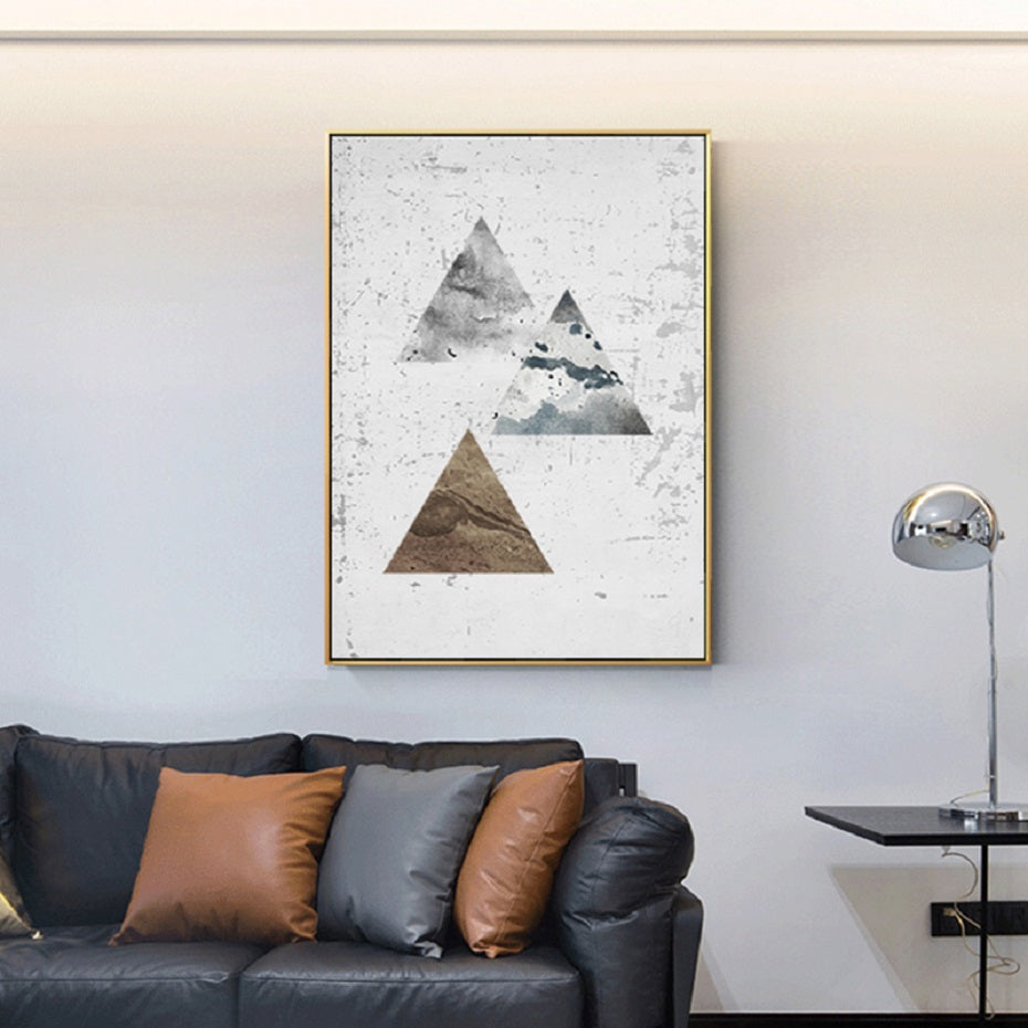 Rustic Vintage Scandinavian Abstract Geometrical Elements Nordic Wall Art Triangles Squares Circles Gold Bronze Silver Fine Art Canvas Prints