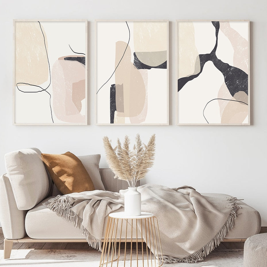 Scandinavian Abstract Wall Art Fine Art Canvas Prints Natural Hues Neutral Color Modern Art Pictures For Living Room Dining Room Contemporary Home Decor