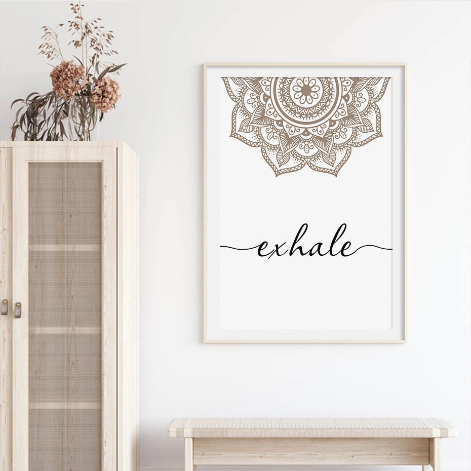 Scandinavian Floral Mandala Wall Art Inhale Exhale Quotation Posters For Meditation Yoga Inspirational Minimalist Pictures Nordic Home Wall Art Decor