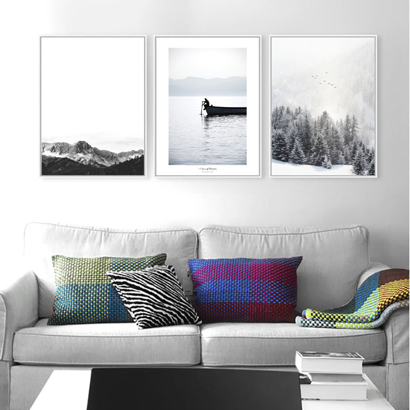 Scenes Of Natural Tranquillity Nordic Style Black And White Landscape Wilderness Photographic Fine Art Canvas Prints For Modern Home Decor