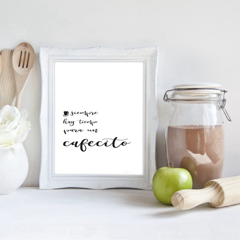Siempre Hay Tiempo Para Un Cafecito Wall Art Spanish Cafe Shop Sign There Is Always Time For A Coffee Fine Art Canvas Prints For Kitchen Living Room Home Decor