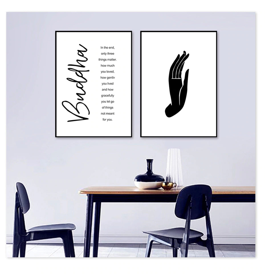 Simple Buddha Mudra Hand Gesture Yoga Wall Art Minimalist Black & White Quotation Fine Art Canvas Prints Nordic Home Interior Decor