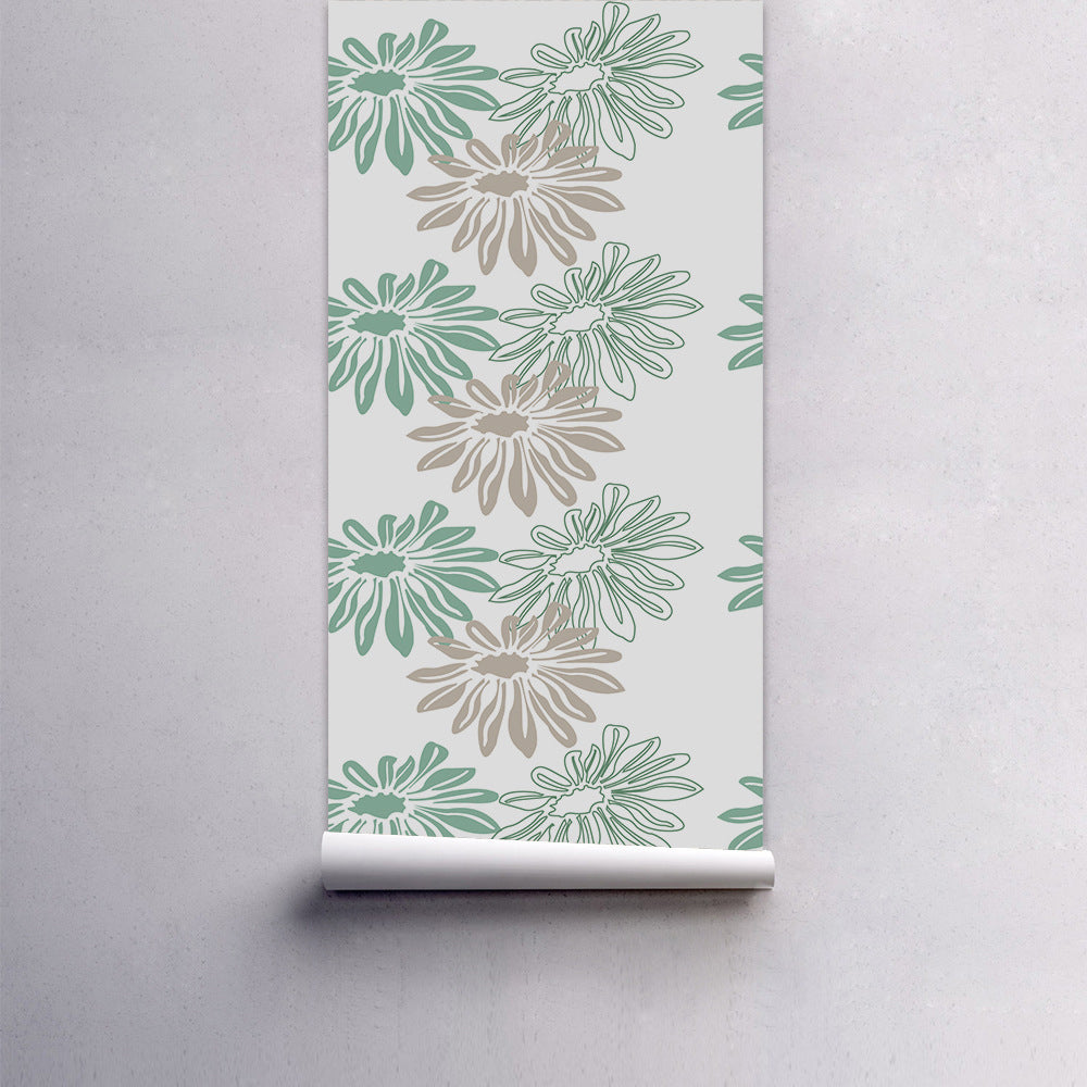 Simple Floral Design Self Adhesive Vinyl Wall Mural PVC Wallpaper Covering For Walls Furniture Cabinet Surfaces Creative Nordic Style DIY Decor For Living Room