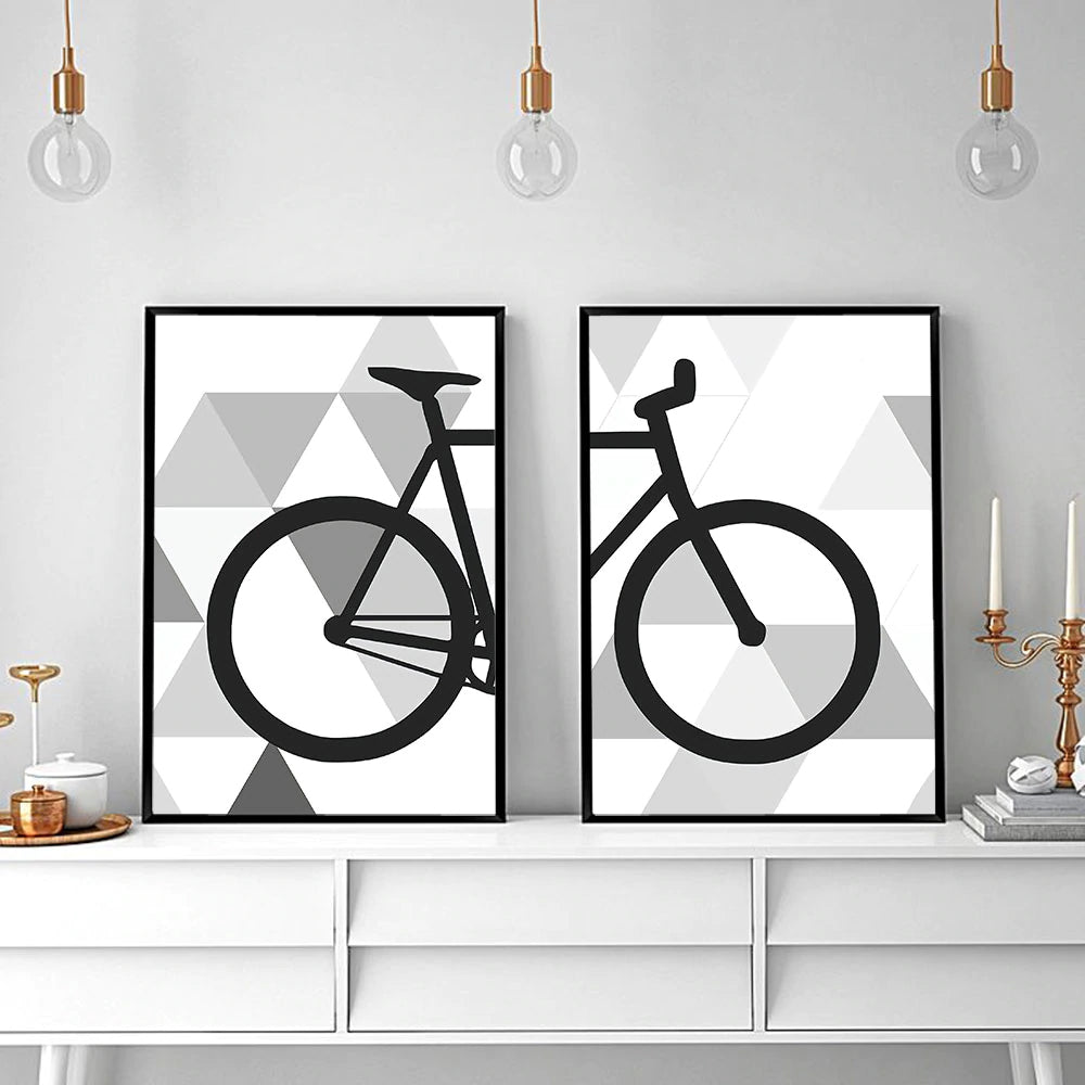 Simple Geometric Bike Minimalist Wall Art Nordic Style Fine Art Canvas Prints Black And White Bicycle Poster Pictures For Living Room Cycling Modern Wall Art