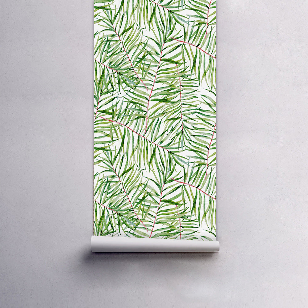 Simple Green Leaves Wall Mural Self Adhesive PVC Wallpaper Wall Covering For Decorating Walls Furniture Cabinet Surfaces Creative DIY Nordic Home Decor