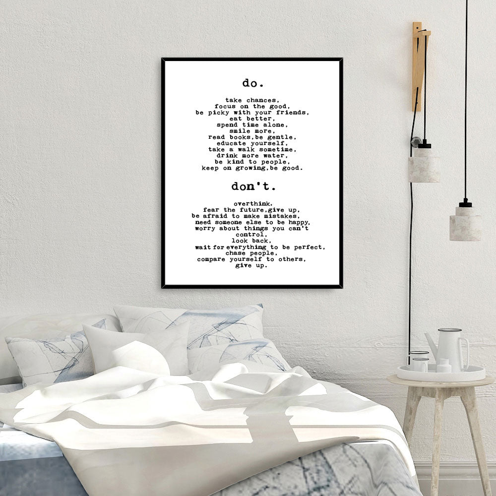Simple List Of Do's And Don'ts Daily Mantra Wall Art Black White Fine Art Canvas Prints Inspirational Pictures Living Room Bedroom Posters Minimalist Home Decor