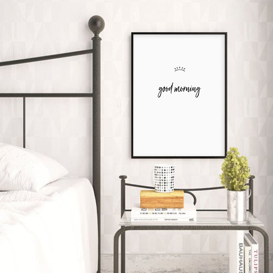 Simple Minimalist Bedroom Art Black White Fine Art Canvas Prints Good Night Eyes Good Morning Typographic Posters Nordic Wall Art For Bedroom Home Decor