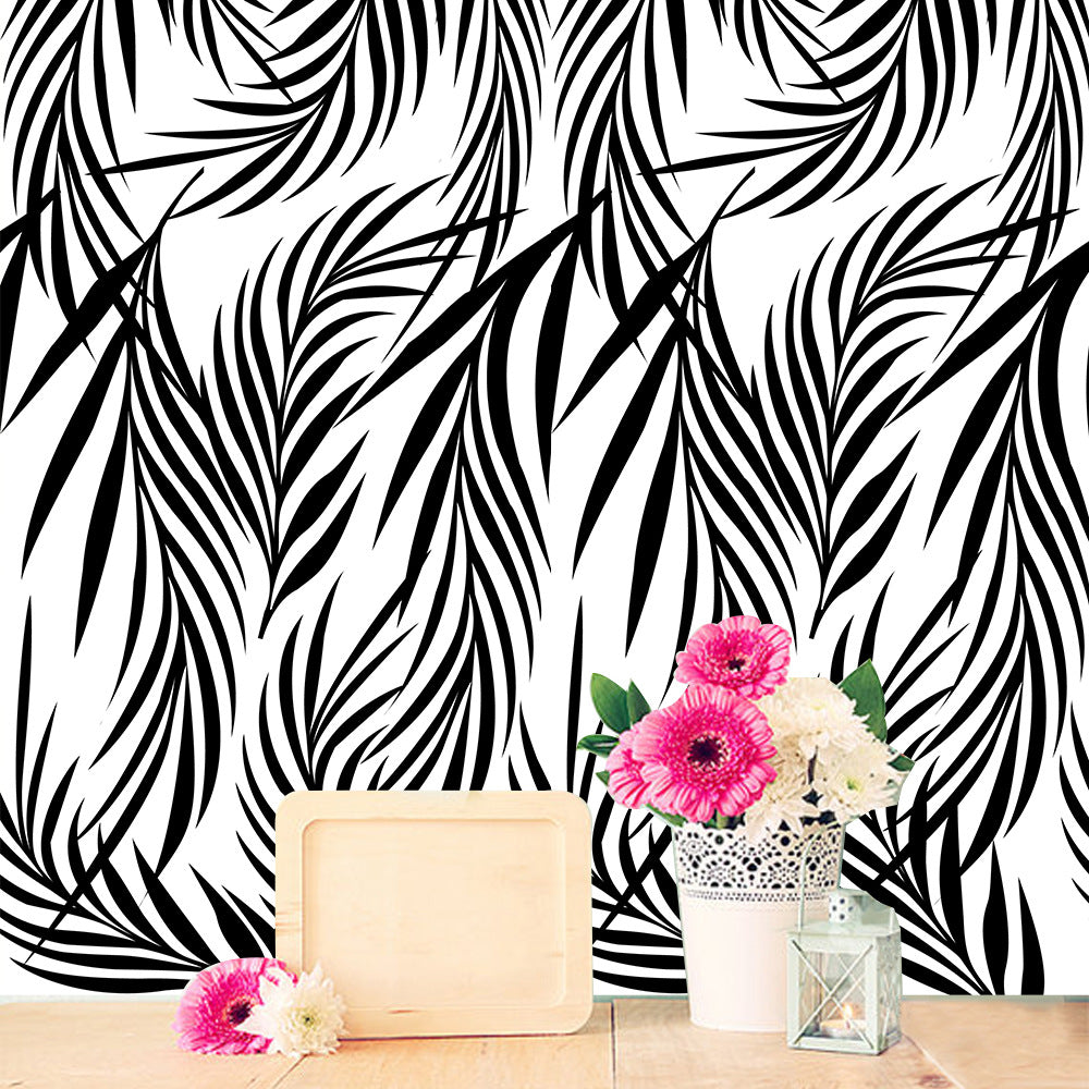 Simple Minimalist Black Leaves Vinyl Wall Mural Self Adhesive PVC Wallpaper Peel & Stick Covering For Tables Furniture Cabinets Surfaces Creative DIY Home Decor
