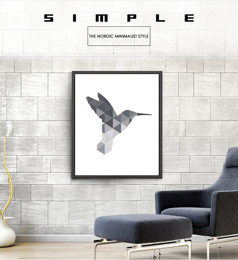 Simple Minimalist Hummingbird Nordic Wall Art Canvas Poster Geometric Contrasting Shades of Grey Pictures for Modern Home Decor