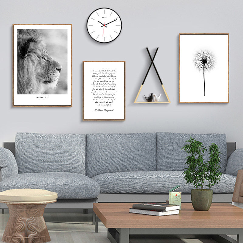 Simple Minimalist Inspirational Black White Wall Art Fine Art Canvas Prints For Living Room Bedroom Pictures For Scandinavian Style Home Interior Decor