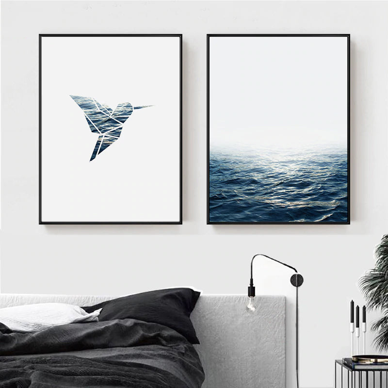 Simple Minimalist Seascape Poster With Flying Bird Logo Wall Art Fine Art Canvas Prints Nordic Style Pictures For Modern Home Interior Wall Decor