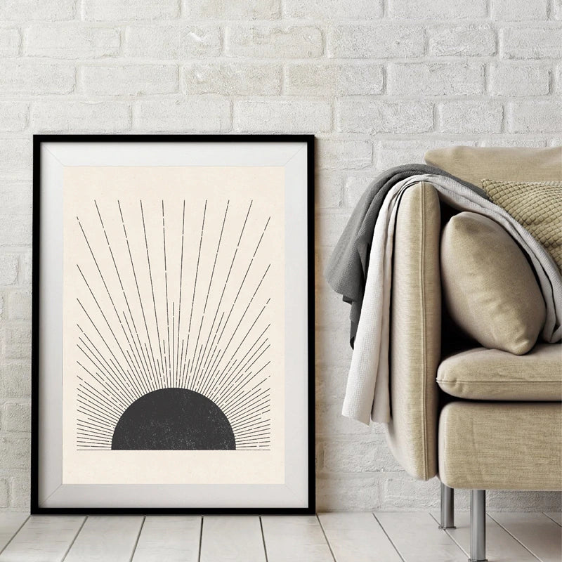 Simple Sun Rays Vintage Block Print Illustration Minimalist Nordic Style Poster Fine Art Canvas Painting Neutral Colors Living Room Home Decor