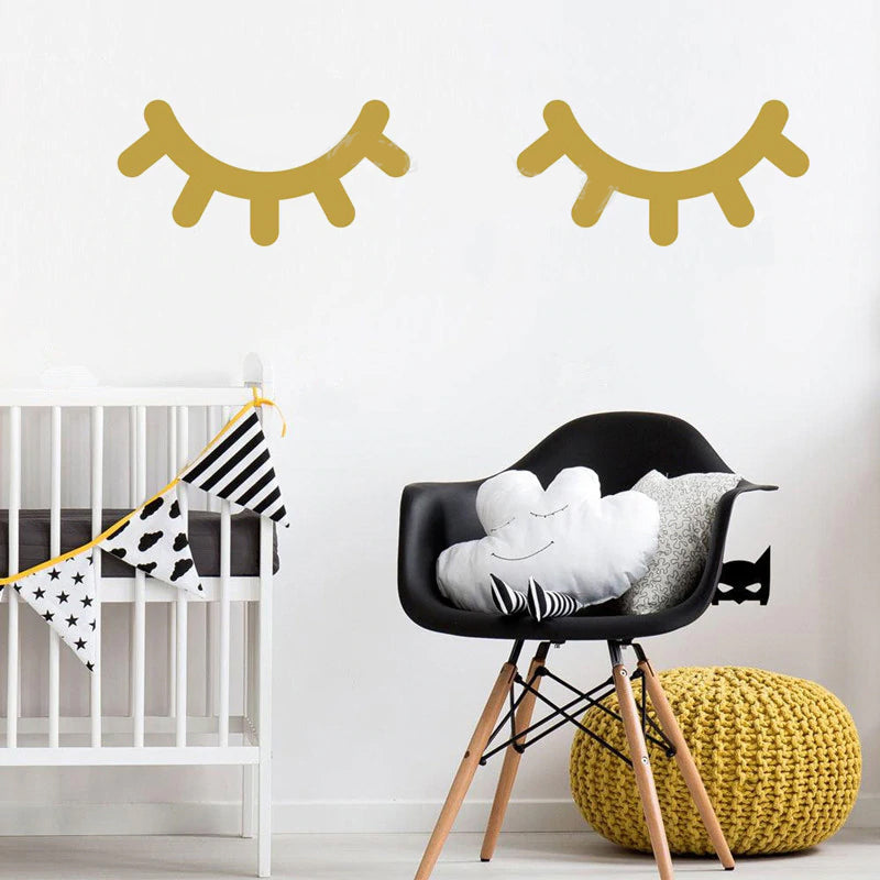 I Woke Up Like This Closed Eye Lashes Printed Wall Decor Removable PVC Decal New