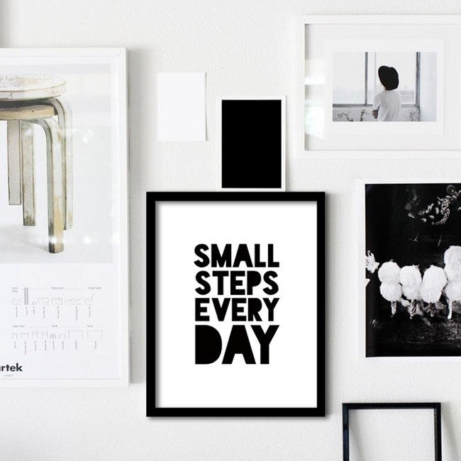 Small Steps Every Day Motivational Mindset Quotation Posters Minimalist Fine Art Canvas Prints Inspirational Nordic Wall Art For Home Or Office