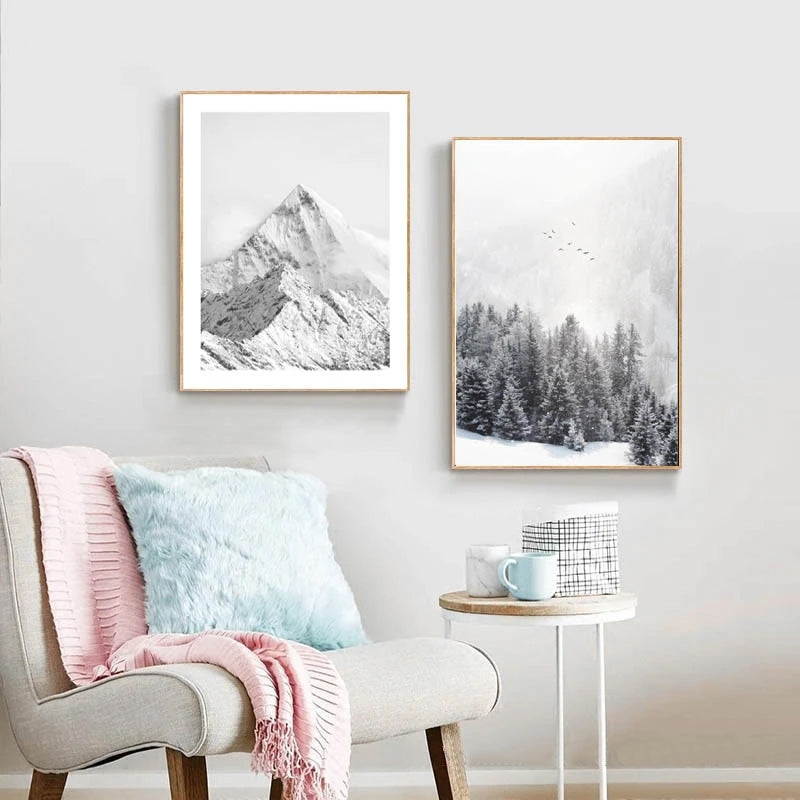 Snowy Mountain Misty Forest Wall Art Fine Art Canvas Prints Modern Black & White Minimalist Inspirational Landscape Pictures For Scandinavian Home Decor