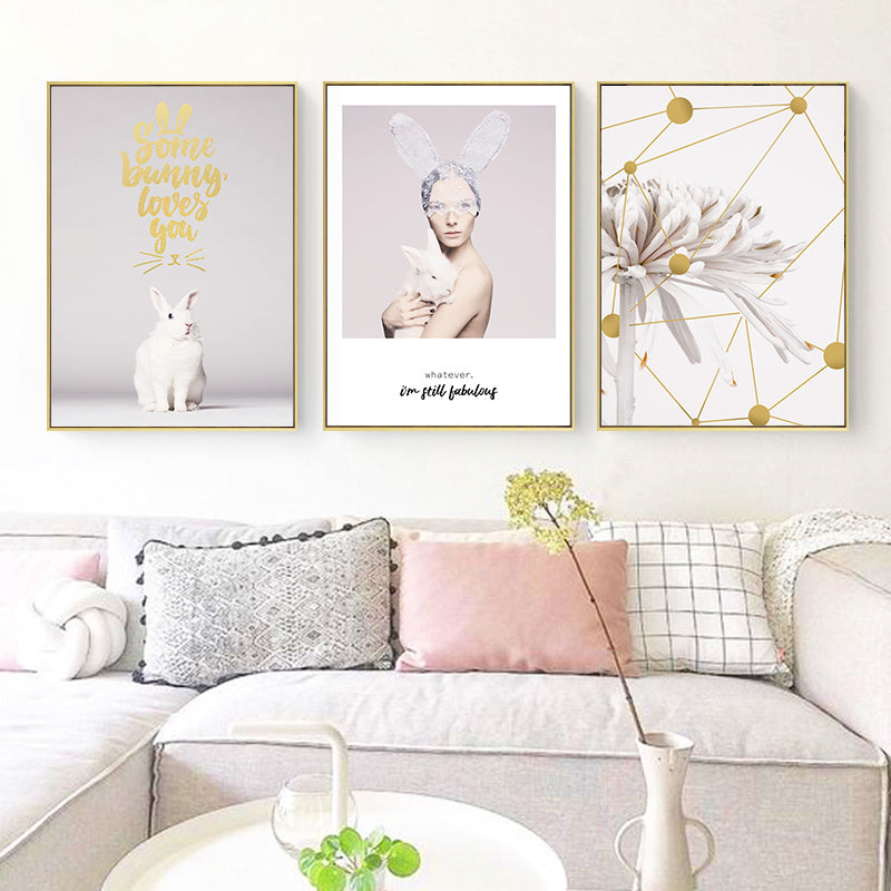 Some Bunny Loves You Delightful Pretty Pink Minimalist Quotations Floral Figure Art Cute White Bunny Fine Art Canvas Prints For Girls Room Decor