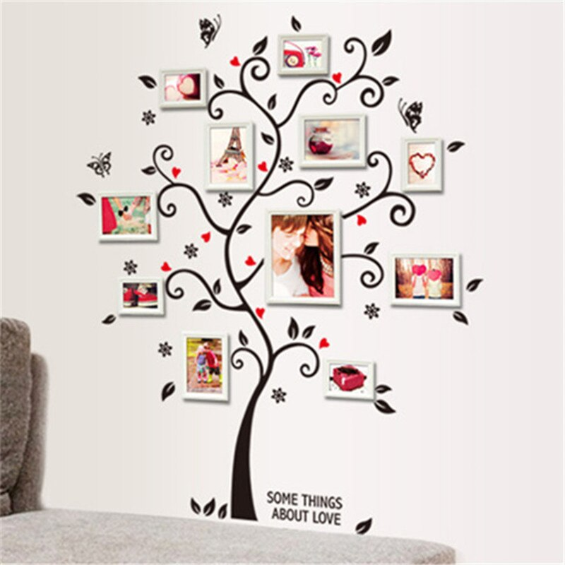 Some Things About Love Family Photo Wall Art Decor DIY Photo Tree Wall Sticker For Family Room Living Room Bedroom 1m x 1.2m Wall Decal