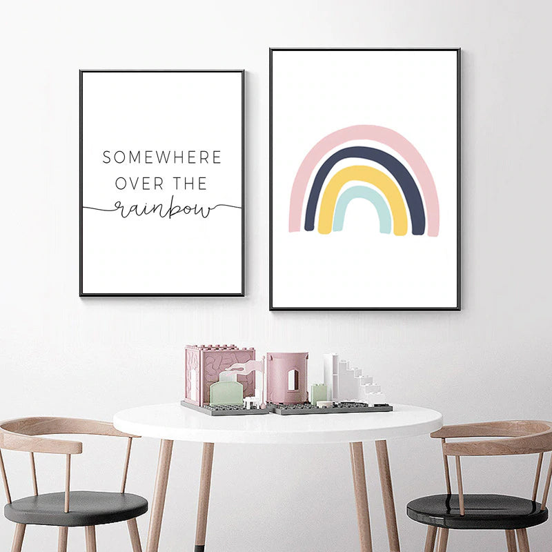 Somewhere Over The Rainbow Cute Nursery Wall Art Nordic Style Posters Fine Art Canvas Prints Pictures For Kids Room Children's Room Decor