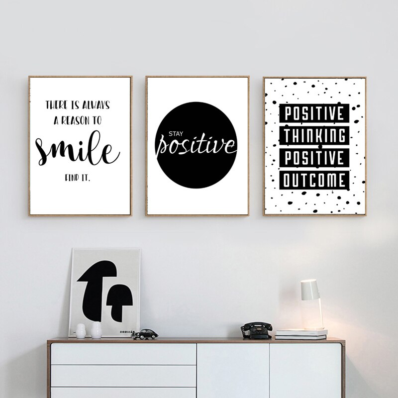 Stay Positive Inspirational Wall Art Black & White Fine Art Canvas Prints Motivational Quotations Posters For Offices Or Home Living Room Bedroom Art Decor