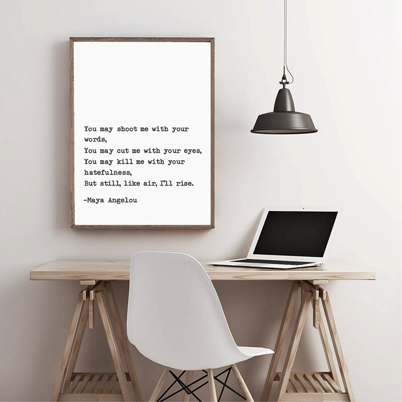 Still I Rise Quote By Maya Angelou Typewritten Canvas Print Black White Minimalist Monochromatic Wall Art Inspirational Poster For Living Room Bedroom Decor