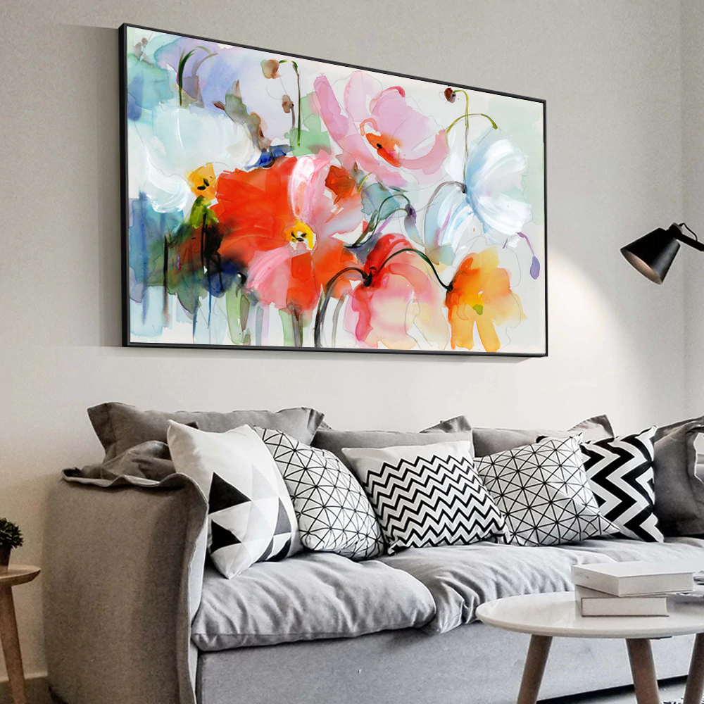 Stunning Big Floral Painting Modern Colorful Abstract Fine Art Canvas Poster Prints Wall Art For Living Room Bedroom, Office or Hotel Interior Decor