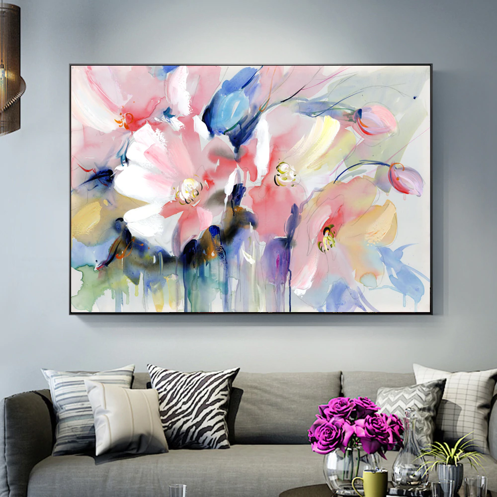 Stunning Big Floral Wall Art Modern Colorful Abstract Fine Art Canvas Poster Prints Paintings For Living Room Bedroom, Office or Hotel Interior Decor
