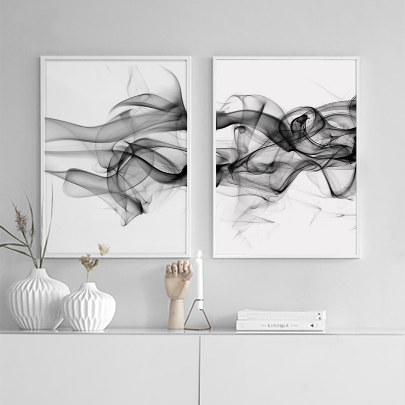 Stylish Abstract Black Vapor Trails Black And White Posters Fine Art Canvas Prints For Modern Office Decor Home Interior Wall Art Decoration
