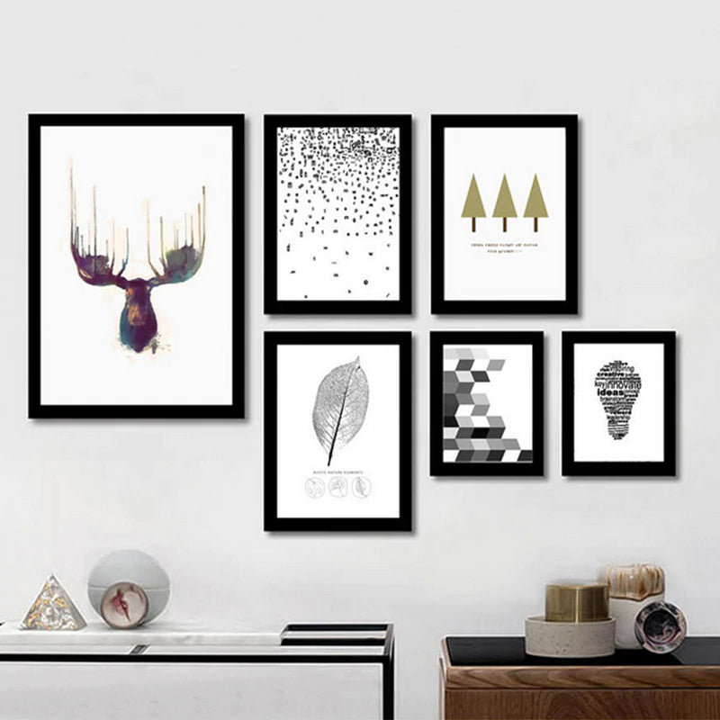 Stylish Abstract Nordic Wall Art Minimalist Canvas Paintings Inspired By Wildlife Nature Deer Posters For Office Living Room Home Decor