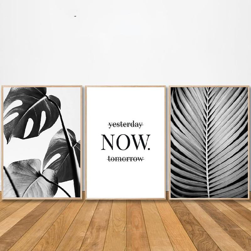 Stylish Black White Tropical Palm Leaves Wall Art Minimalist Today Quotation Fine Art Canvas Prints Nordic Style Modern Interiors Home Decor