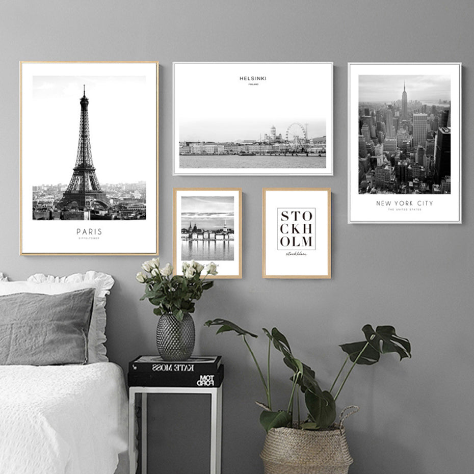 Stylish Black and White Cityscapes New York City Paris Stockholm Helsinki Canvas Wall Art Prints City Living Wall Art For Modern Apartment Decor
